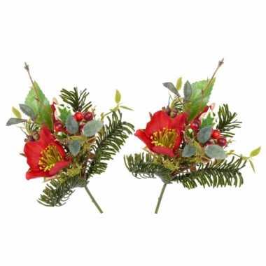 5x stuks kerststukje insteek versiering rode helleborus 17 cm kerstversiering