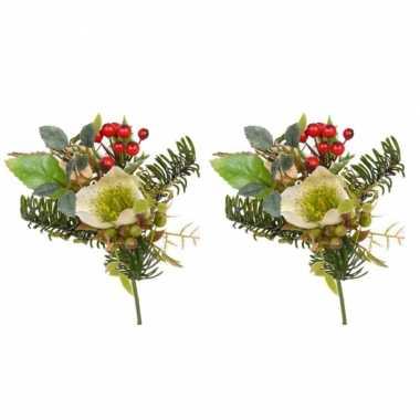 5x stuks kerststukjes insteek boeket wit 17 cm kerstversiering