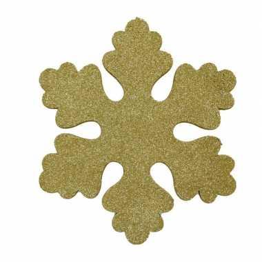 6x gouden decoratie sneeuwvlokken van foam 25 cm kerstversiering