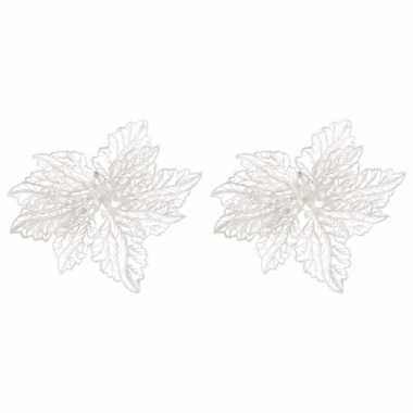 6x kerstbloem versiering witte glitter kerstster/poinsettia op clip 15 cm kerstversiering