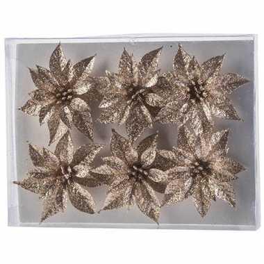 6x kerstbloemen versiering champagne glitter roos op clip kerstversiering