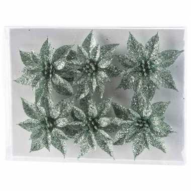 6x kerstbloemen versiering mintgroen glitter roos op clip kerstversiering