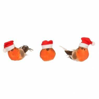 6x kerstboom versiering vogels op clip 9 cm kerstversiering