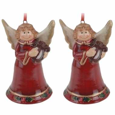 6x kerstornamenten kerstengel hanger 8 cm kerstversiering