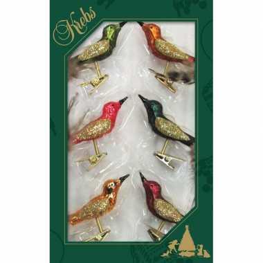 6x luxe glazen gekleurde vogels op clip 9 cm kerstversiering