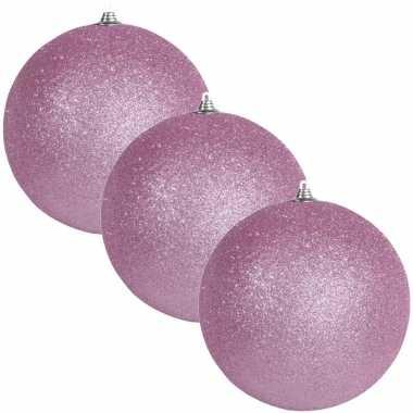 6x roze grote kerstballen met glitter kunststof 13,5 cm kerstversiering