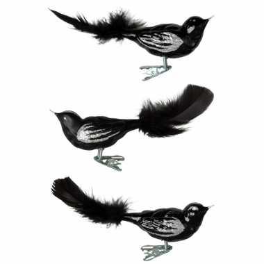 6x zwarte glazen decoratie vogels op clip 11 cm kerstversiering