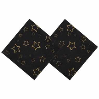72x oud en nieuw servetten met gouden sterren 25 x 25 cm kerstversiering