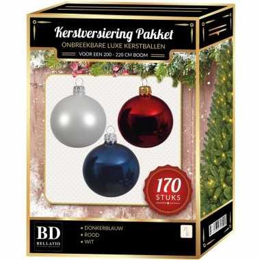 Complete kerstballen set 170x wit-donkerblauw-kerst rood voor 210 cm kerstboom kerstversiering