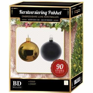 Complete kerstballen set goud/zwart voor 150 cm kerstboom kerstversiering