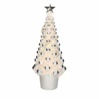 Complete kerstboom met ballen en lichtjes zilver 60 cm kerstversiering
