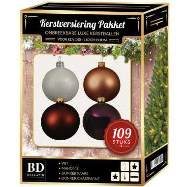 Complete luxe versiering set nr. 17 voor 150 cm kerstboom kerstversiering