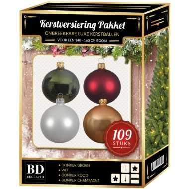 Complete luxe versiering set wit-champagne-groen-donkerrood voor 150 cm kerstboom kerstversiering