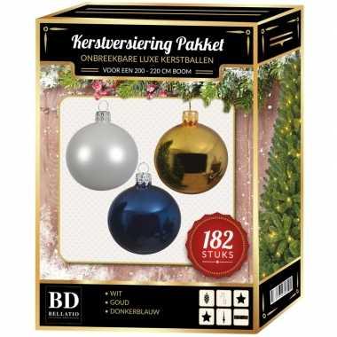 Complete luxe versiering set wit-goud-donkerblauw voor 210 cm kerstboom kerstversiering