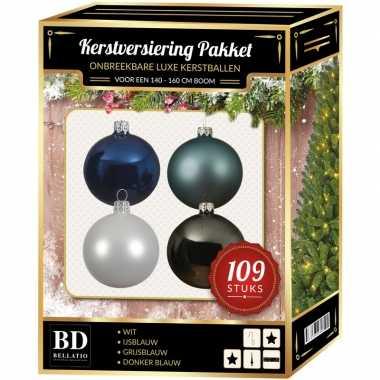 Complete luxe versiering set wit-ijsblauw-grijsblauw-donkerblauw voor 150 cm kerstboom kerstversiering