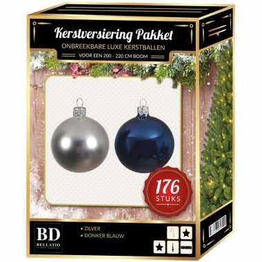 Complete luxe versiering set zilver-donkerblauw voor 210 cm kerstboom kerstversiering