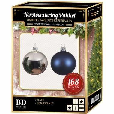 Complete versiering set zilver-donkerblauw voor 210 cm kerstboom kerstversiering