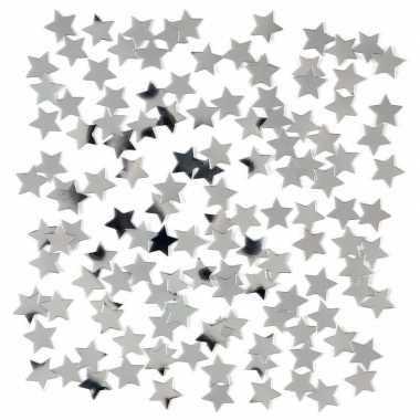 Decoratie zilveren sterretjes confetti 3 zakjes kerstversiering