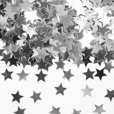 Decoratie zilveren sterretjes confetti zakje kerstversiering