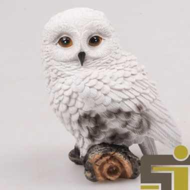 Dieren beeldje sneeuwuil polystone 10 cm kerstversiering