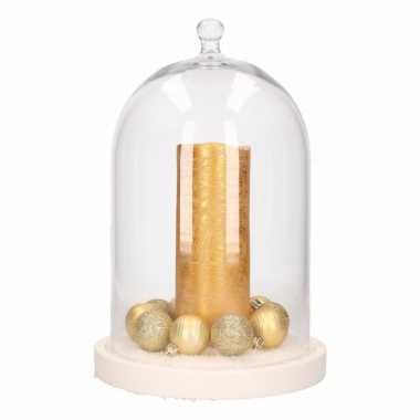 Diy kerstdecoratie stolp met gouden kaars en kerstballetjes kerstversiering