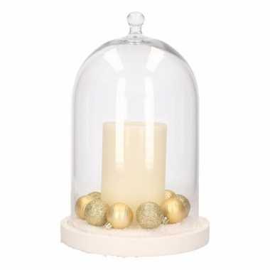 Diy kerstdecoratie stolp met led kaars en kerstballetjes goud kerstversiering
