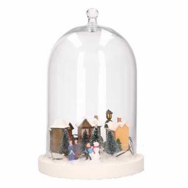 Diy kerstdecoratie stolp met verlicht kerstdorp kerstversiering