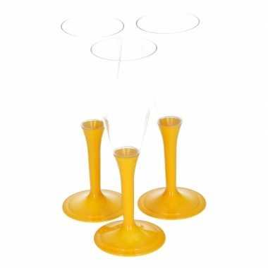 Gele drankglazen 10 stuks kerstversiering