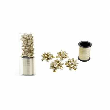 Goud cadeaulint / 4 strikjes kerstversiering