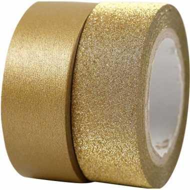 Goud knutsel tape 2 rollen kerstversiering