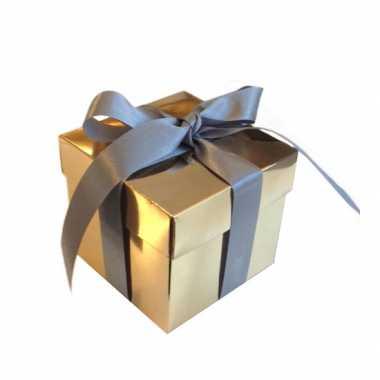 Gouden decoratie doosje 10 cm kerstversiering