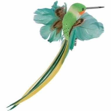 Groene kolibries vogels versiering 15 cm met verenstaart op clip kerstversiering