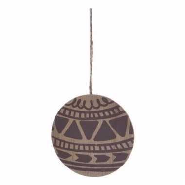 Houten kerstboom versiering schijf hout met bruin printje 8 cm kerstv