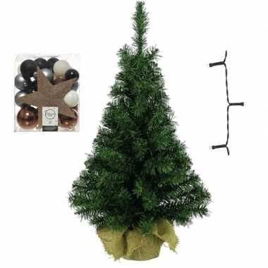 Kantoor/bureau kerstboom compleet met decoratie blauw/bruin/champagne kerstversiering