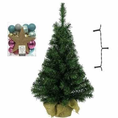 Kantoor/bureau kerstboom compleet met decoratie goud/fuchsia kerstversiering