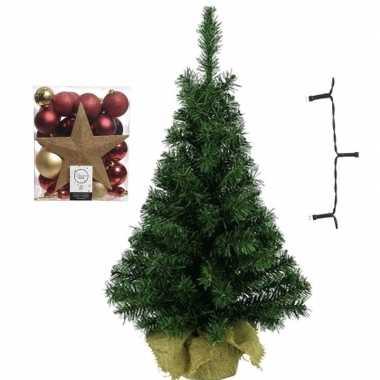 Kantoor/bureau kerstboom compleet met decoratie goud/rood kerstversiering
