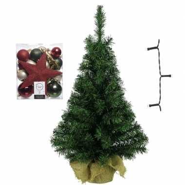 Kantoor/bureau kerstboom compleet met decoratie groen/champagne/rood kerstversiering