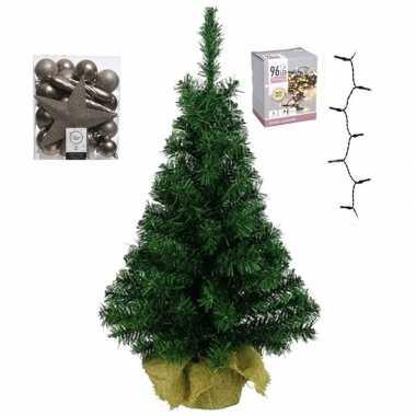 Kantoor/bureau kerstboom compleet met decoratie kasjmier bruin kerstversiering