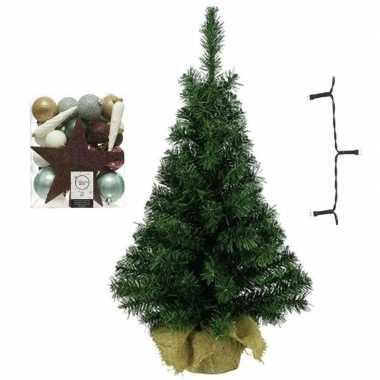 Kantoor/bureau kerstboom compleet met decoratie natuurtinten kerstversiering