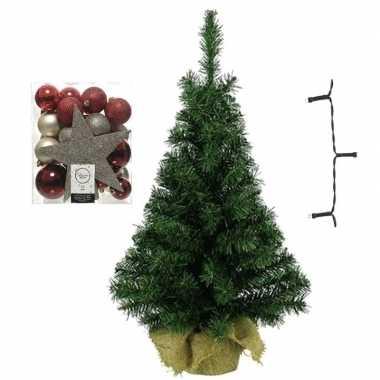 Kantoor/bureau kerstboom compleet met decoratie rood/bruin/champagne kerstversiering