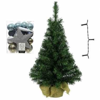 Kantoor/bureau kerstboom compleet met decoratie wit/bruin/blauw kerstversiering