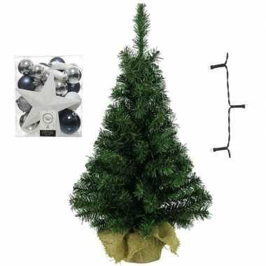 Kantoor/bureau kerstboom compleet met decoratie wit/zilver/blauw kerstversiering