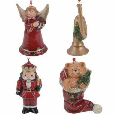 Keramiek kerstboom hangers setje van 4x stuks ornamenten/figuren 8 cm kerstversiering