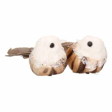 Kerst clip vogels wit bruin 2 stuks kerstversiering