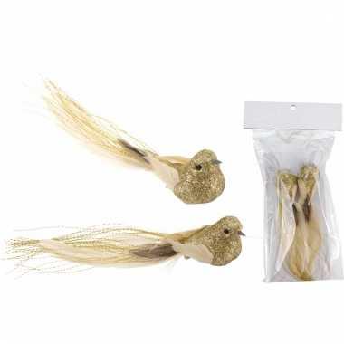 Kerst clip vogeltjes glitter goud 2 stuks kerstversiering