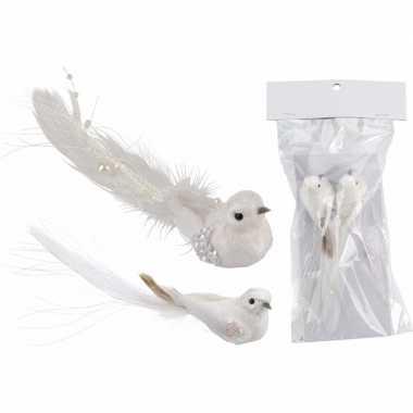 Kerst clip vogeltjes glitter wit 2 stuks kerstversiering