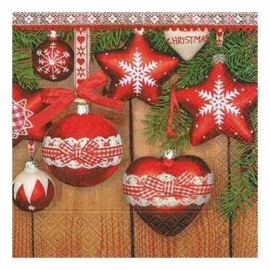 Kerst servetten met kerstballen kerstversiering