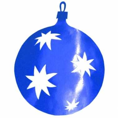 Kerstballen hangdecoratie blauw 40 cm kerstversiering