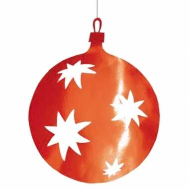 Kerstballen hangdecoratie rood 40 cm kerstversiering