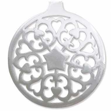 Kerstballen hangdecoratie zilver 32 cm kerstversiering